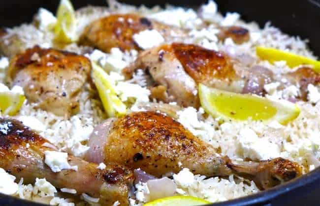 Lemony Greek Rice Pilaf (Pilafi) Recipe with Chicken Thighs