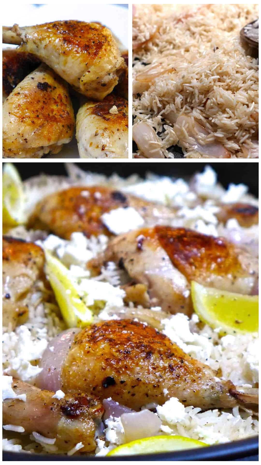 Lemony Greek Rice Pilaf (Pilafi) Recipe with Chicken legs preparation