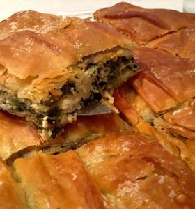 Traditional Greek Spanakopita recipe (spinach pie) with homemade phyllo