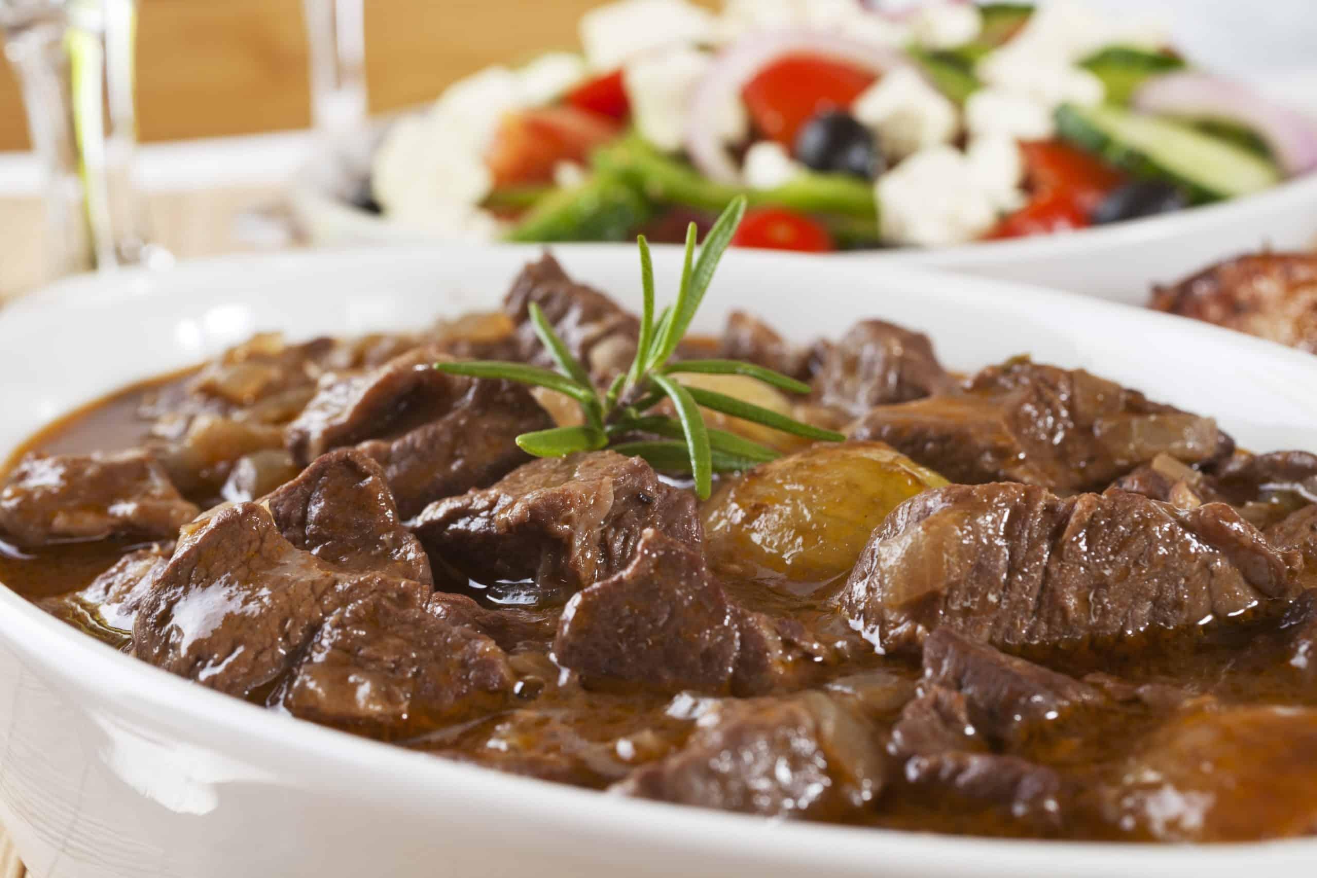 Traditional Greek Lemon Beef Stew Recipe Moschari Lemonato My Greek Dish