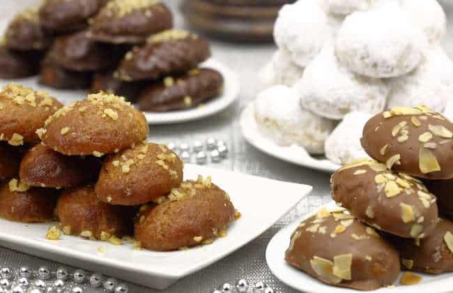 Chocolate covered Melomakarona (Greek Christmas honey cookies with chocolate)