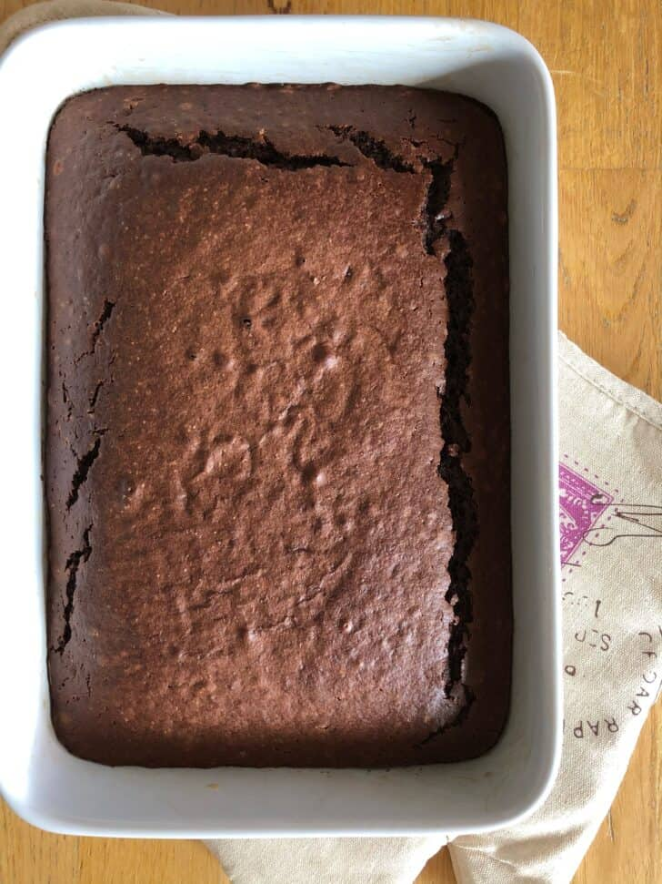 Greek chocolate cake in a pan