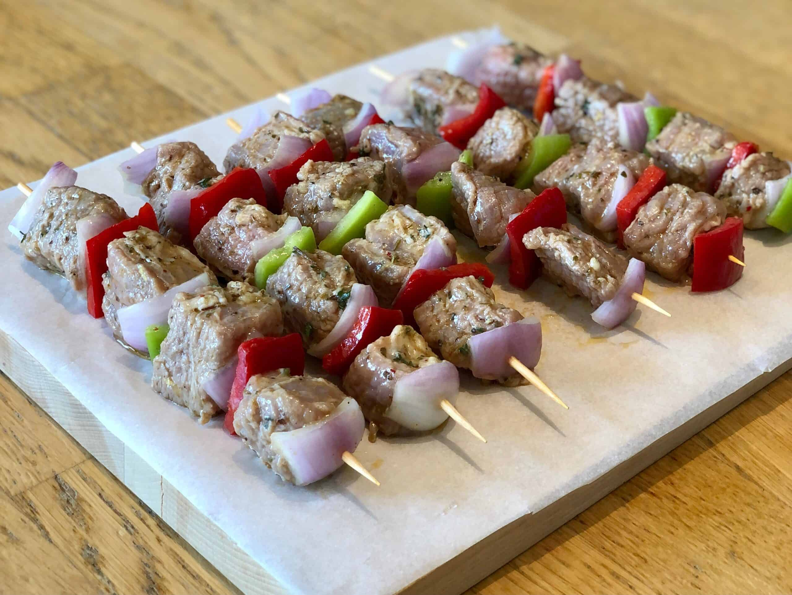 Marinated Greek Beef Souvlaki Skewers (Beef Kabobs) ready to grill