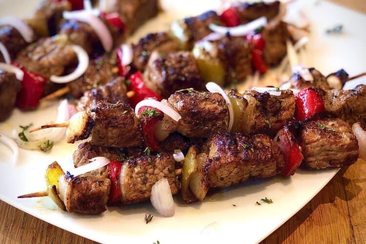 Marinated Greek Beef Souvlaki Skewers (Beef Kabobs) recipe