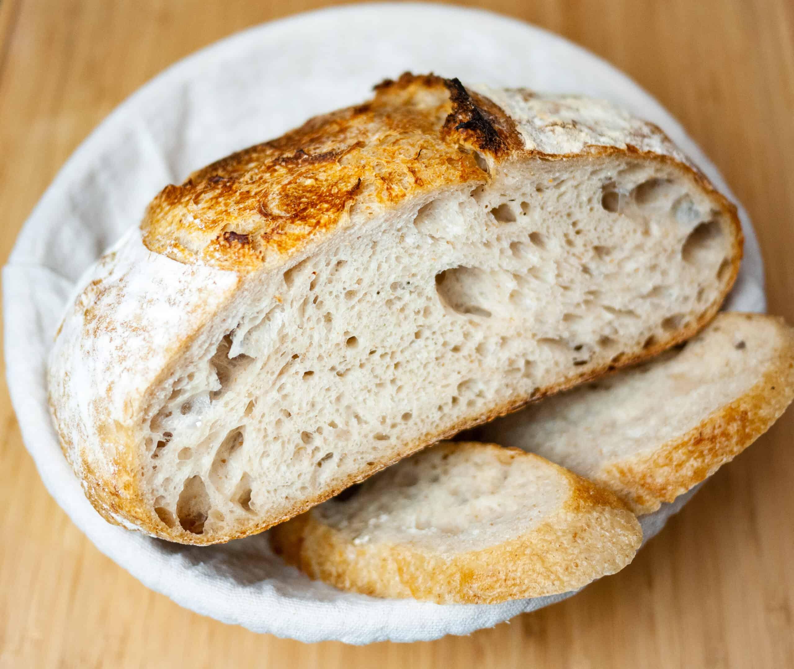 Easy Sourdough Bread recipe with Starter (prozimi) open crumb