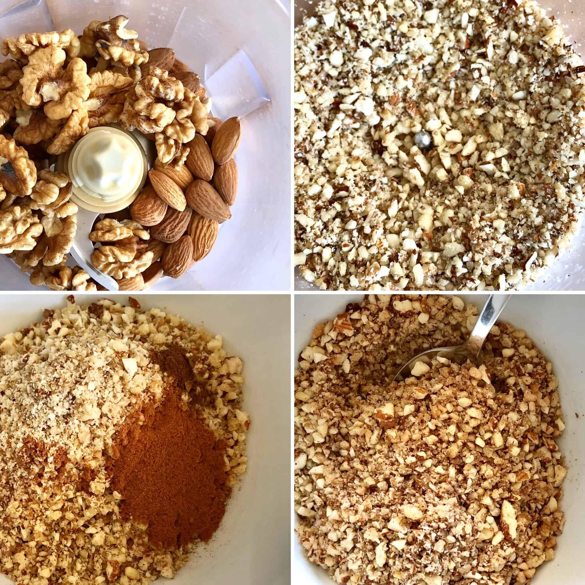 Preparing the nuts for Greek baklava rolls (Saragli)